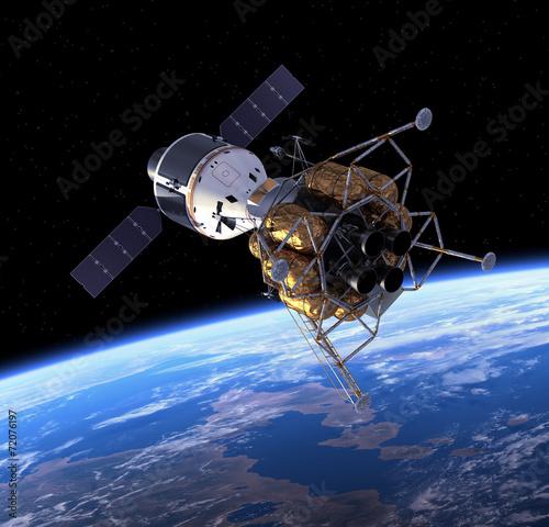 Plexiglas Ruimtelijk Crew Exploration Vehicle In Space.