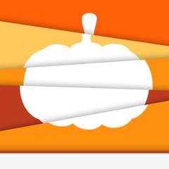 Creative Halloween card. Asymmetric pumpkin formed from paper