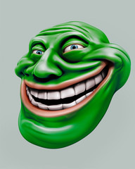 Green trollface. Internet troll 3d illustration