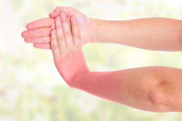 Handgelenk Schmerzen , farbige Darstellung
