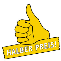 tus162 ThumbUpSign tus-v26 - Daumen Halber Preis - gelb g2262