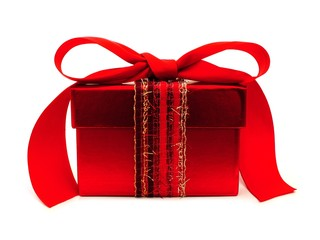 Red gift box with ribbon and bow over a white background