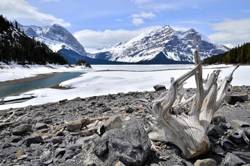Winter view of a frozen lake in the Rocky Mountains