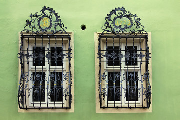 Windows with a beautiful curved black metal lattices, Germany