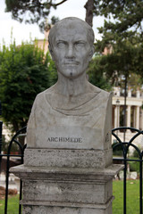Buste d'Archimède de Syracuse dans la parc Pincio à Rome