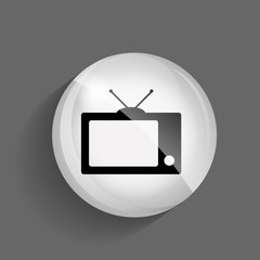 TV Glossy Icon Vector Illustration