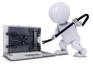 3D Morph Man breaking into a laptop