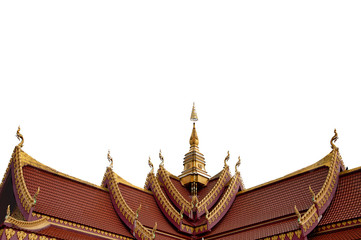Isolated beautiful roof of Public Temple in laos
