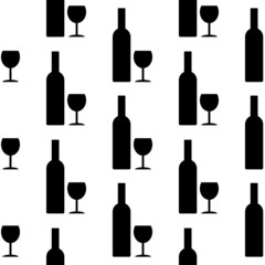 Bottle and glasse icon seamless pattern