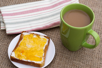 toast with jam and cocoa