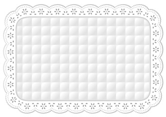 Place Mat, quilted eyelet lace embroidery border frame