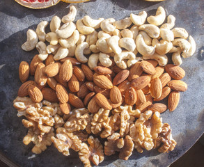 Cashew nuts, almonds and walnuts