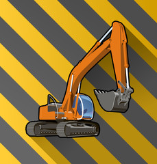 excavator on black and yellow stripped