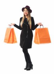 Edle Frau im Kaufrausch