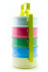 Bright and colour melamine Carrier style lunch box isolated back