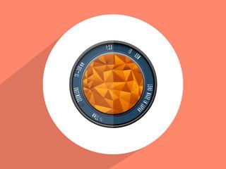 Camera  lens ,Flat design style