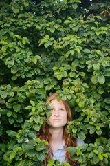 Woman among Leaves - People and Nature