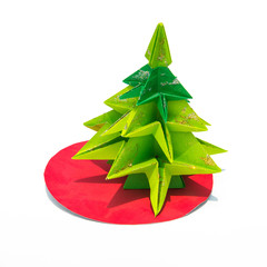Green origami christmas tree