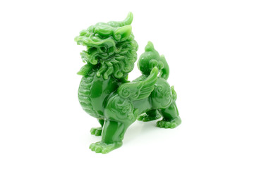 The lion statue the symbol of powerful in Chinese belief isolate