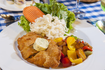 Chicken schnitzel meal