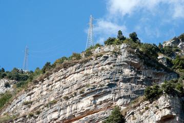 Electricity pylon on the rock