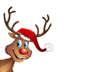Fröhliches Rentier mit Weihnachtsmütze