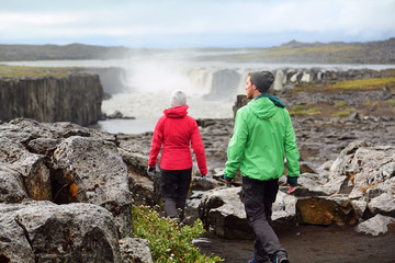 Hiking people in Iceland nature landscape Selfoss
