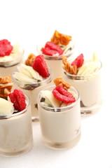 desserts of tiramisu with fresh raspberry