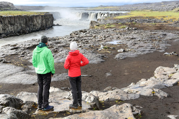 Iceland nature landscape with people by Selfoss