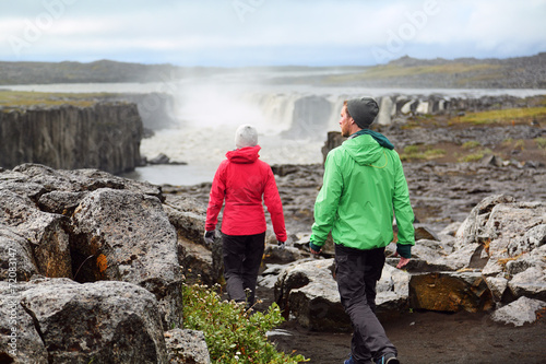 Hiking people in Iceland nature landscape Selfoss - 72083147
