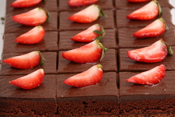 piece of chocolate cake with strawberry.