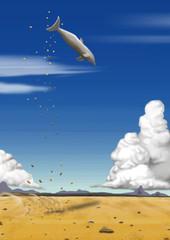 砂漠のイルカ 空想イラスト