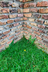 Ancient brick wall corner and grass