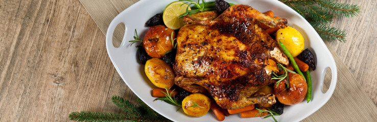 Whole Roasted holiday chicken with apples