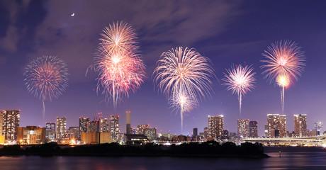 Fireworks celebrating overOdaiba, Tokyo