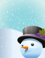Snow man christmas background