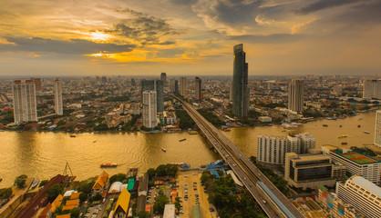 Dramatic scenery of the city center at sunset, Bangkok Thailand