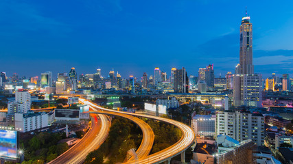 Cityscape twight with Baiyok tower in Bangkok