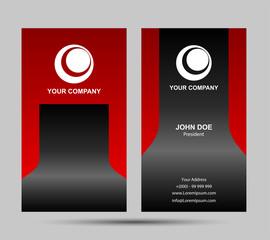 Red Modern Vertical Business Card Set