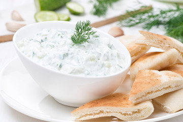yoghurt sauce tzatziki with pieces of pita bread, close-up