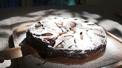 Cake With White Powdered Sugar, Slow Motion