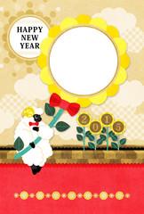 2015年未年完成年賀状テンプレート「向日葵と羊HAPPYNEWYEAR」
