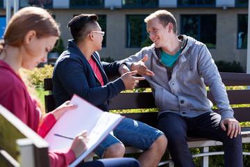 University friends talking