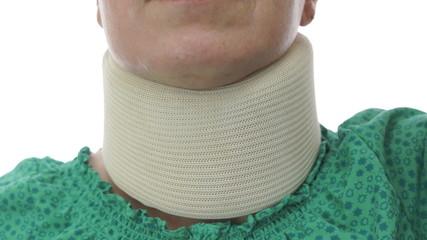 Woman In Neck Brace Tilt Up Close