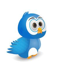 Illustration of a blue bird stare a head