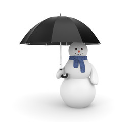 Snowman with umbrella