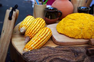 The national dish of mamaliga and corn cobs
