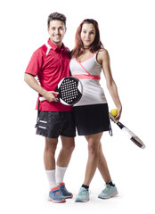 Isolated on white paddle tenis mixed couple team