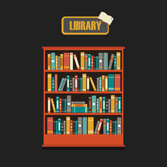 Vector of library book shelf