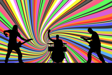 Vector silhouette musical group.